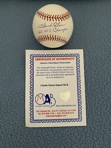 CLAUDE OSTEEN 1965 WORLD CHAMPS SIGNED AUTOGRAPHED M.L. BASEBALL MAB COA