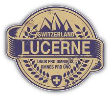 """Lucerne City Switzerland Grunge Travel Stamp Car Bumper Sticker Decal 5"""" x 4"""""""
