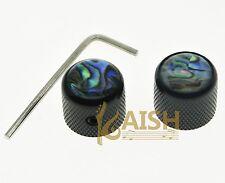 2 Pcs Tele Telecaster Abalone Top Guitar Dome Knobs Bass Knob w/ Set Screw Black