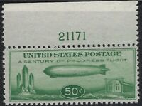 US Stamps - Scott # C18 - Baby Zep - Plate # Single - Mint never Hinged  (A-227)