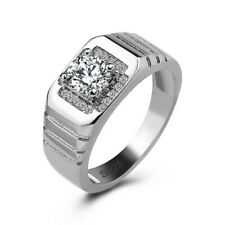 Romantic Ring for Men Jewelry Gifts 925 Sterling Silver Zirconia Square Wedding