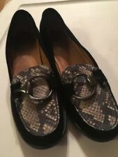 Stuart Weitzman Black Suede Snakeskin Loafers Ladies Size 8 Beautifully Crafted
