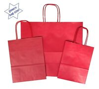 Red Paper Gift Bags ~ Boutique Shop Bag ~ Pick Size Small Medium Large