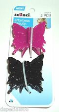 SCUNCI Hair BUTTERFLY Effortless Beauty Jaw Clips 39121-A PINK & BLACK New