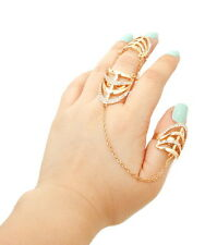 CELEB Statement Gold Crystal 2 Finger Cocktail Double Ring By Rocks Boutique