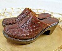 Born Clog Womens Mule Leather Basket Weave Studded Brown Size 8 slide on heels