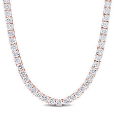 Amour Rose Plated Sterling Silver Cubic Zirconia Tennis Necklace