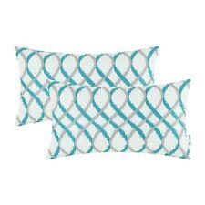 "2Pcs Gray Teal Cushion Cover Bolster Pillow Shells Waves Geometric Sofa 12x20"""