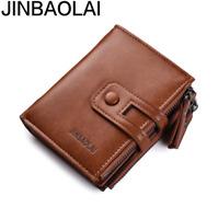 Men Leather High Capacity Bifold Wallet Credit Card ID Holder Retro Zipper Purse