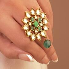 22k Gold plated Kundan Wedding Ring Bridal Jewelry Bollywood Fashion Jewellery