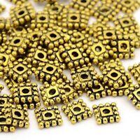 Metallperlen Spacer Gold Quadrat 7mm für Hlaskette Armband Ohrring Dıy BEST F261