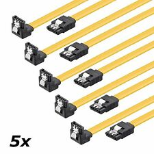 5x SATA 6 Gb/s Kabel gewinkelt Sicherheitslasche s-ATA SATA SSD CAK 0,5 m