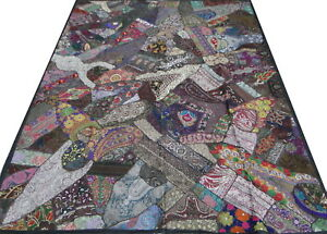 Indian Quilt Twin Handmade Bed cover Patchwork India Bedspread Floral Paisley E3