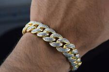 Mens Brass Yellow Gold Finish Micro Pave Cubic Zirconia Miami Cuban Bracelet