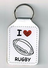 Rugby Key Ring, I Love Rugby Key Ring, Sentiment Key Ring, Rugby Gift