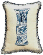 """16"""" x 12""""Handmade Wool Needlepoint Blue and White Chinese Porcelain Jar Pillow"""