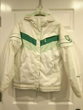 Columbia Girl's Youth Size 14/16 Winter Ski Jacket White And Green
