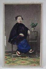 Original ANTIQUE 1870/80's PHOTO CDV Albumen Tinted CHINA CHINESE WOMAN/ COSTUME