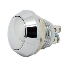 "New 12mm 1/2"" Anti-Vandal Momentary Metal Push button Switch Dome Top Chrome fu"