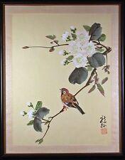 Asian Brush Painting of Bird on Flowering Branch