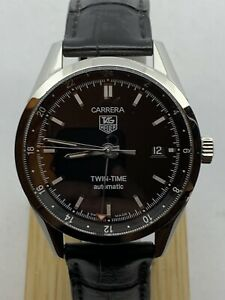 TAG Heuer Carrera Twin Time WV2115-0 SS Automatic Black Dial Men's Watch.