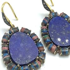 Blue Lapis Sterling Silver 925 and Rainbow Calsilica Earrings
