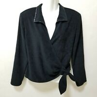 St John Sport Womens Top Jacket Wrap Black Embellished Tie Front Velvet V-neck M