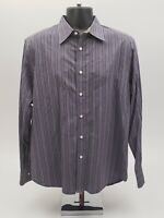Robert Graham Men's Shirt Size Large Gray Purple Striped