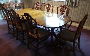 Dining room furniture suite, Antique Yew finish Large Table 8 chairs, Plus other