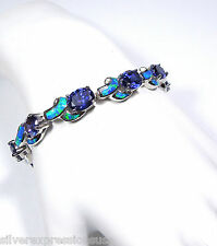 Tanzanite & Blue Fire Opal Inlay 925 Sterling Silver Link Tennis Bracelet 7.25''