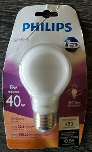 Philips Slim Style LED Bulb 40w Equiv. SoftWhite Dimmable Uses 8w 360 Light