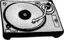 16176 Black White Vinyl Record Player Turntable Retro Old School IRON ON PATCH