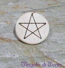 Ciondolo talismano PENTACOLO stella 5 punte wicca magia legno artigianale 5 cm