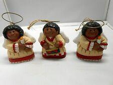 Very Nice Set of 3 'Eddie Walker' African American Christmas Angel Ornaments