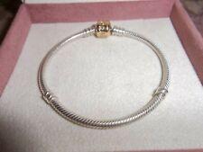 Genuine Pandora Silver & 14ct Gold Barrel Clasp Bracelet 590702HG 17cm  RRP £275