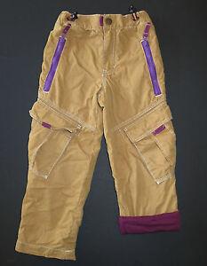 Mini Boden boys purple lined toffee tan beige skate cargo toggle waist pants 5 4