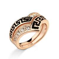 18k Rose Gold Plated Vintage Stackable Ring Set Made With Swarovski Crystal R88