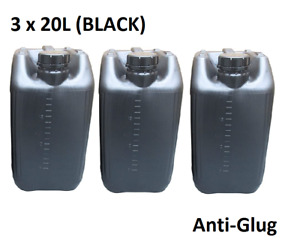 3 x 20 LITRE 20L PLASTIC BOTTLE JERRY WATER CONTAINER CANISTER ANTI GLUG - BLACK
