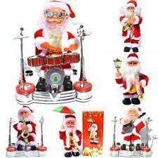 Christmas Electric Battery Music Santa Claus Doll Xmas Band Drum Decor Toy Gifts