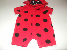 F & F RED HOODED PLAYSUIT FOR 0 - 3 MONTH BABY IN RED WITH BLACK SPOTS