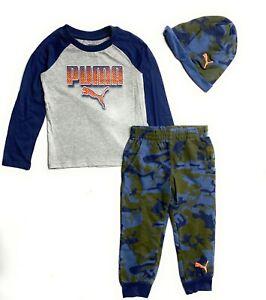 PUMA Little  Boys' 3 Piece Graphic T-Shirt, Jogger & Hat Set(4-7 Years)