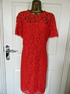 """Definitions Size UK-16  LIned Shift  Dress in Red Lace  BUST 40"""" VGC"""