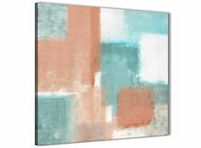 Coral Turquoise Kitchen Canvas Art Decor - Abstract 1s366m - 64cm Square Print