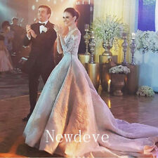 Luxury Rhinestones Lace Wedding Bridal Dress Ball Puffy Gown White/Ivory Custom