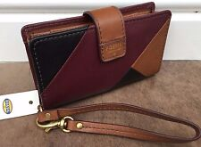 """FOSSIL PATCHWORK LEATHER """"AMANDA"""" PURSE WRISTLET WITH iPHONE POUCH BNWT"""