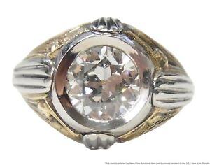 1.53ct Old Euro Diamond Mens Ring White Yellow 14k Gold Art Deco Unisex Sz 6.5