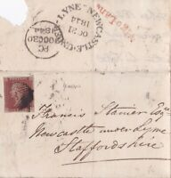 1844 QV LONDON LETTER WITH A 4 MARG 1d PENNY RED STAMP TO NEWCASTLE UNDER LYME