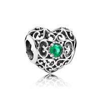 Heart Openwork Birthstone Charm Beads Sterling Silver Bracelet Charms For Women
