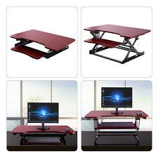 Brown Desktop Tabletop Standing Desk Adjustable Height Sit to Stand Workstation