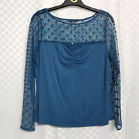 Ladies ROMAN Top Plus Size 16 Blue Stretch Sheer Shoulders Draped Long Sleeve